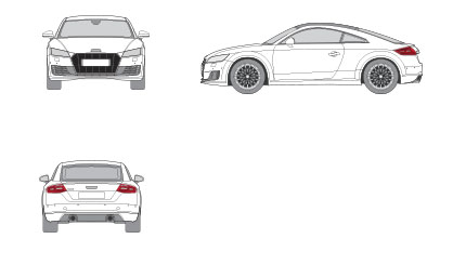 silueta dimensiones audi TT Coupe